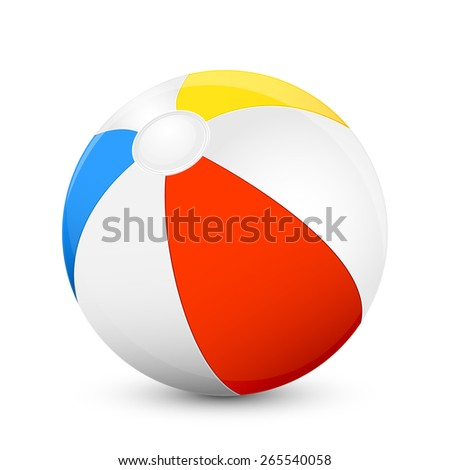 Colorful beach ball isolated on white background, illustration. - stock photo