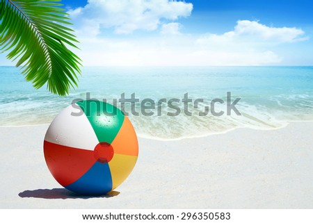 Colorful Beach ball on sandy beach with palm frond