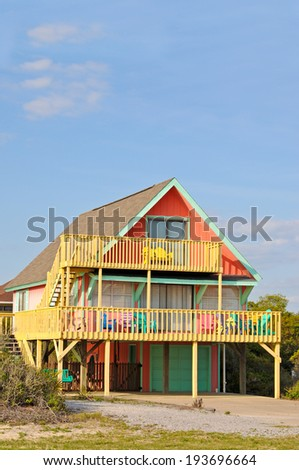 Colorful Beach House Rental with Outdoor Decks - stock photo