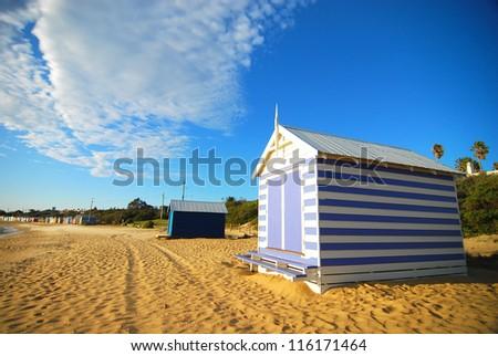 Colorful beach hut at Brighton Beach near Melbourne, Australia - stock photo