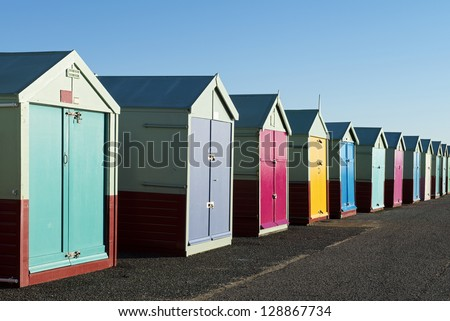 Colorful Beach Huts at Hove, near Brighton, East Sussex, UK. - stock photo