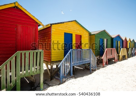 Colorful beach huts at Muizenberg near Cape Town, South Africa