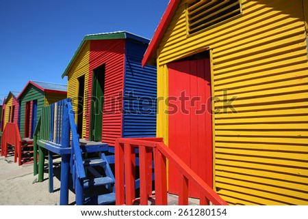 Colorful beach huts at St James Beach in Cape Town. South Africa - stock photo