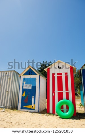 Colorful beach huts on the beach at Saint-Denis island d'Oleron in France
