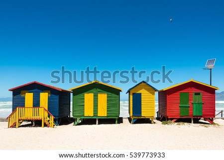 Colorful beach huts with hightech solar panel at Muizenberg near Cape Town, South Africa