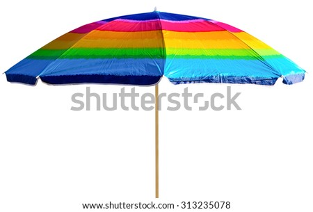 Colorful beach umbrella isolated on white - stock photo