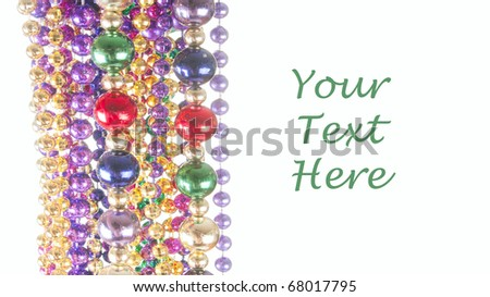 colorful beads hanging with room for your text - stock photo