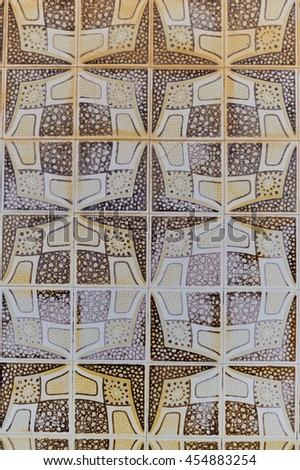 Colorful beautiful background of traditional Azulejos Portuguese tiles - stock photo