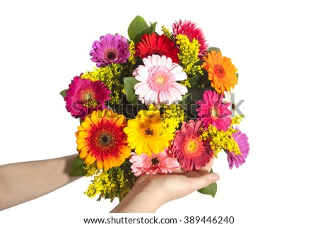 Colorful beautiful bouquet in the hands of a child - stock photo