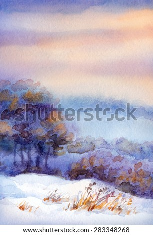 Colorful beautiful bright romantic watercolour on paper backdrop with space for text. Young yellowed seedlings on snowy mound over a grove in the valley in frosty foggy wintertime day
