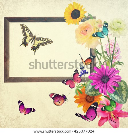 Colorful beautiful flowers and butterflies with blank wooden frame (for photo, picture or text). Nature and art abstract.With copy space is available. Old paper texture  background.Vintage style image - stock photo