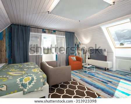 colorful bedroom in the attic 3d rendering