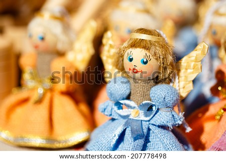 Colorful Belarusian Straw Dolls At The Market. Straw Dolls Are The Most Popular Souvenirs From Belarus And Symbol Of Country's Culture
