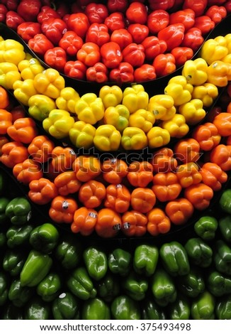 Colorful Bell Peppers on a shelf