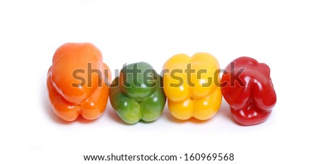 colorful bell peppers on a white background