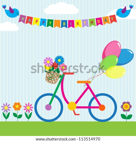 Colorful bike with flowers and balloons. Raster version - stock photo