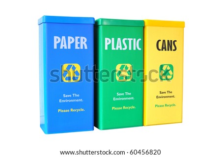 Colorful Bins For Collecting Recycle Material - stock photo