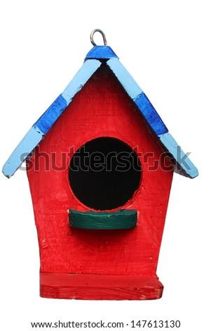 colorful bird house isolated on white background. - stock photo