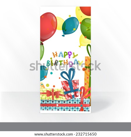 Colorful Birthday Background. Party Invitation Card Design, Template - stock photo