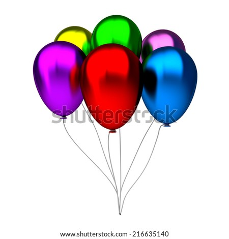 colorful birthday balloons isolated on white background - stock photo