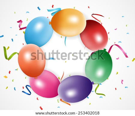 Colorful birthday balloons with confetti  - stock photo