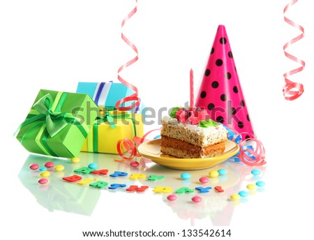 Colorful birthday cake with candle and gifts isolated on white - stock photo