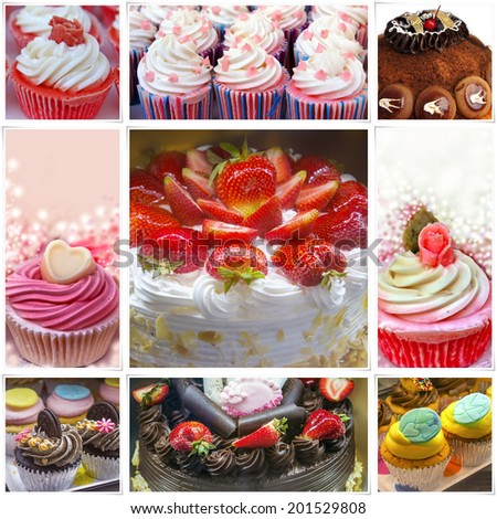 Colorful birthday cakes collage - stock photo