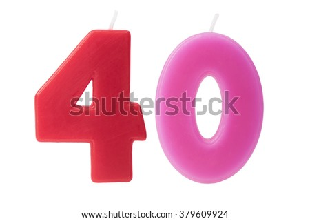 Colorful birthday candles in the form of the number 40 on white background - stock photo