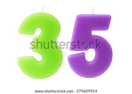 Colorful birthday candles in the form of the number 35 on white background - stock photo