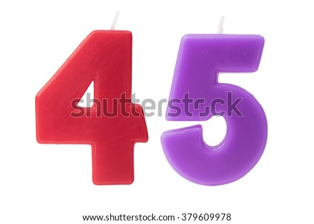 Colorful birthday candles in the form of the number 45 on white background