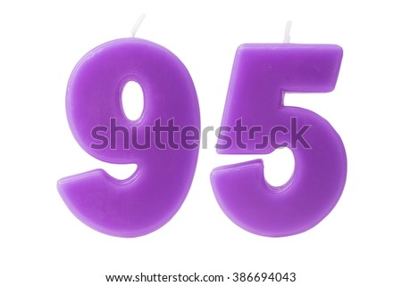 Colorful birthday candles in the form of the number 95 on white background