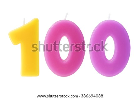 Colorful birthday candles in the form of the number 100 on white background - stock photo