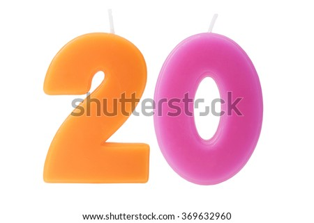 Colorful birthday candles in the form of the number twenty on white background - stock photo