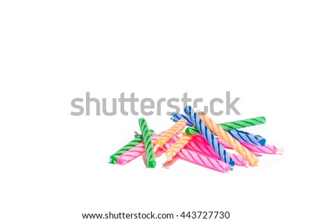 colorful birthday candles isolated on white, with copyspace for your work. - stock photo