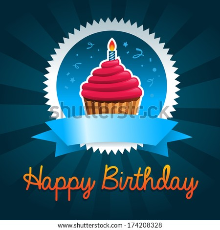 Colorful birthday card with cupcake - stock photo