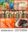 Colorful birthday celebration collage (includes closeup of frosted cake with burning candles, gifts, ribbons, balloons, cupcakes, and frosted brownies). - stock photo