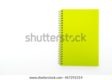 Colorful blank notebook isolated on white background