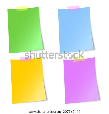 Colorful blank sheets of paper stuck with scotch