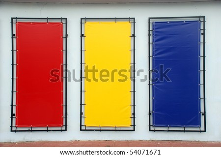 colorful blank signs with a copy space area - stock photo