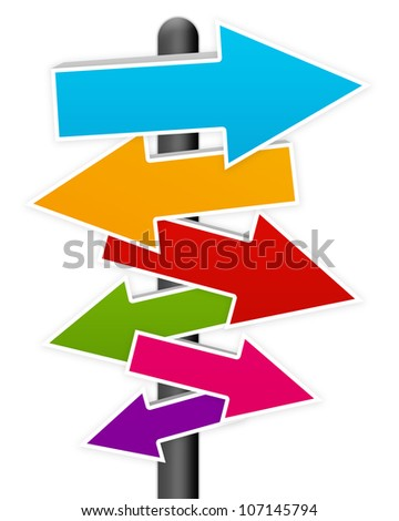 Colorful Blank Traffic Sign Isolated on White Background - stock photo