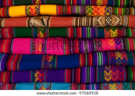 Colorful blanket in Peru - stock photo