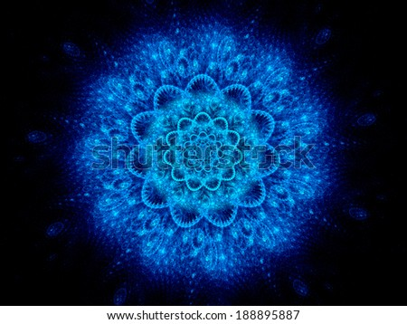 Colorful blue space mandala abstract background, hinduism