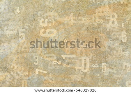 Colorful & blur number from 0 to 9, word cloud for education or learning conceptual, for design wallpaper, texture or background, grunge & rough