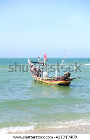 Colorful Boat in the sea:Close up,select focus with shallow depth of field. - stock photo