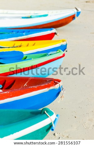 colorful boat on beach,blue sky background