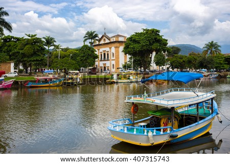 colorful boats in the bay of the famous historical town Paraty, Brazil