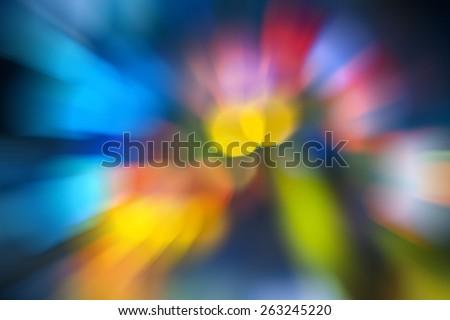 colorful bokeh from traffic att night  - stock photo
