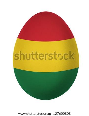 Colorful Bolivia flag Easter egg isolated on white background - stock photo