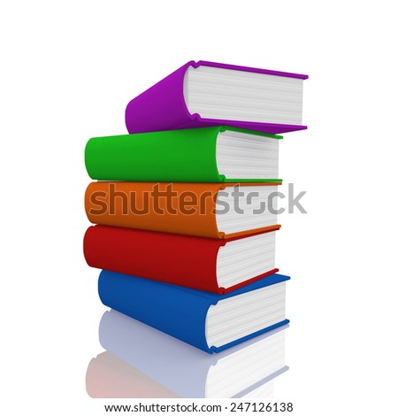 Colorful  book on white background - stock photo