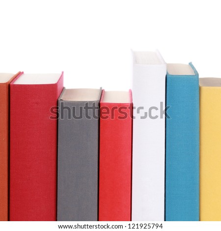 Colorful book spines with copyspace for your own text - stock photo